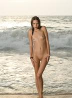 Skinny Nude Model Down At The Beach - little tits hottie