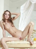 Sexy Slim Nude Beauty With Her Legs Open - shaven centerfold box