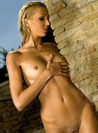 Beautiful Tanned Skinny Model All Wet In The Sunshine - blonde centerfold with hairless muff